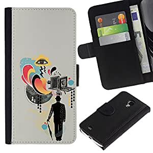 NEECELL GIFT forCITY // Billetera de cuero Caso Cubierta de protección Carcasa / Leather Wallet Case for Samsung Galaxy S4 Mini i9190 // Collage de la cámara Arte Señores Cine
