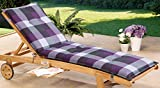 Schwar Textilien Black Fabric Lounger Reclining Garden Chair Sun Lounger Recliner Cushion Sun Lounger Cushion 8 cm thick Karomuster