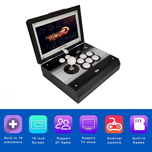 10.1 inch HD LCD Screen DIY 1080P Arcade Emulator Console Cabinet 1Up Arcade Portable Metal Casing Pandora's Box 3D Neo Retro Video Game Console 2448 in 1 Games Flip Cover Single Player Game Machine