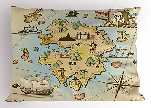 Lunarable Island Map Pillow Sham, Cartoon Treasure Island Pirate Ship Chest Kraken Octopus Nautical Kids Design, Decorative Standard Queen Size Printed Pillowcase, 30 X 20 Inches, ()