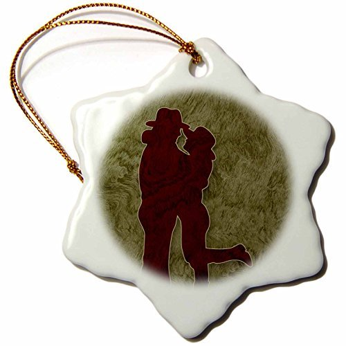 Christmas Ornament Doreen Erhardt Western - Western Themed Cowgirl and Cowboy Embraced in Love - Snowflake Porcelain Ornament -