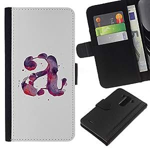 A-type (Letter Watercolor Paint Purple Red) Colorida Impresión Funda Cuero Monedero Caja Bolsa Cubierta Caja Piel Card Slots Para LG G3