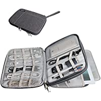 Caden Carrying Pouch Travel Gear Organizer Sleeve Pocket With Mesh Accessory Pouch/ Electronics Accessories Bag / Phone Charger Case, Fit for iPad/iPad Mini/iPad Air(Double Layer, Grey)