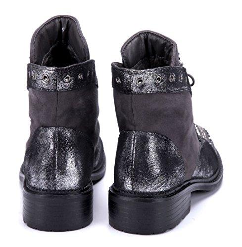 Blockabsatz Schuhe Glitzer Stiefel Stiefeletten Schuhtempel24 Damen Grau cm Ziersteine Boots Klassische Nieten 4 6gnqABYw