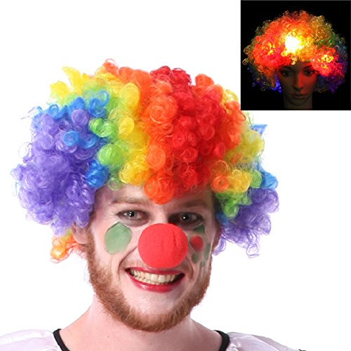 LED Flashing Costume Wig Cosplay Wig Curly Light Up Wig Glowing Rainbow Clown Multicolor Wig Led Hair Lights in Toys and (Friend Pair Costume Ideas)