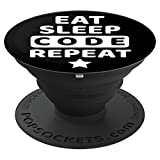 Computer Software Programmer Gift Black Eat Sleep Code - PopSockets Grip and Stand for Phones and Tablets