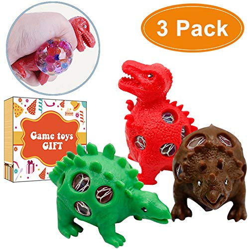 Dinosaur Stress Squeeze Toys Anti-Stress Mesh Grape Ball 3 Pack Squeeze Sensory Fidget Toys for Kids Adults Party Favor Supplies Birthday Gift School Travel Office Dino Decompression Tool to Kill Time