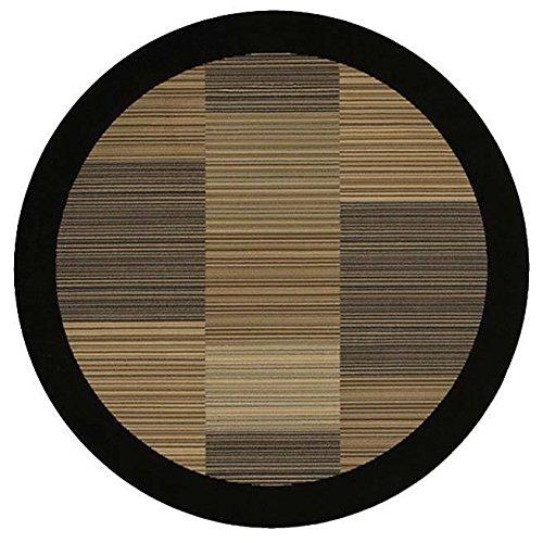 - Couristan 0766/0601 Everest Hamptons/Multi Stripe-Black 5-Feet 3-Inch Round Rug
