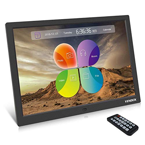 YENOCK Digital Picture Frame, 15.4 Inch 1280 x 800 High Resolution Photo/Music/HD Video Player/Calendar/Alarm Auto On/Off Advertising Player With Remote Control from YENOCK