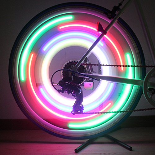ShineMe 4pcs Bike Wheel Lights Waterproof Spoke Bicycle Lights Wire Tyre LED Neon Light Lamp Bulb Red Blue Green and Multi color Used for Safety and Warning(Ramdon Color)