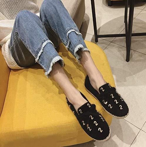 HBDLH Damenschuhe Einzelne Schuhe Runden Kopf Samt Diamond Flachen Boden Boden Boden Faul Schuhe Schwarz 37 4389a2