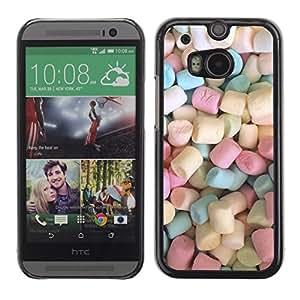 Marshmallow dulces de caramelo Pastel de color - Metal de aluminio y de plástico duro Caja del teléfono - Negro - HTC One M8