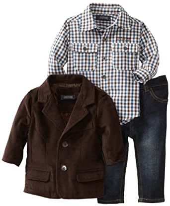 Kenneth Cole Baby Boys' Corduroy Blazer with Shirt and Jean, Brown, 24 Months
