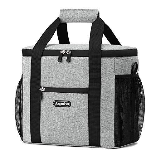 Price comparison product image Bagmine 15 Can Cooler Bag,  Collapsible Insulated Lunch Bag Soft Cooler Tote for Pinic Camping,  Leak Proof,  15 Liter,  Beige