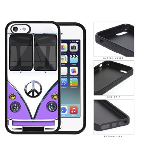 Hippy Mini Van with Peace Sign in Center Series Hard Rubber Cell Phone Case Cover iPhone i5 5s (purple)