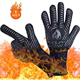 Anglink BBQ Grill Gloves, 1472°F Extreme Heat Resistant Grilling Gloves for Cooking, Baking and for Smoker, Silicone Insulated Cooking Oven Mitts, Long Non-Slip Potholder Gloves