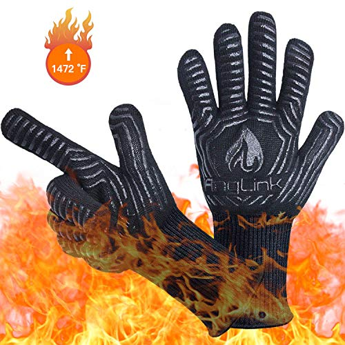 (AngLink BBQ Grill Gloves, 1472F Extreme Heat Resistant Grilling Gloves for Cooking, Baking and for Smoker, Silicone Insulated Cooking Oven Mitts, Long Non-slip Potholder Gloves)