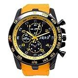 Quaanti Mens Outdoor Sport Watch Stainless Steel Luxury Sport Analog Quartz Modern Men Fashion Wrist Watch Brand Watches (Yellow)