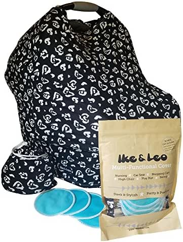 Baby Car Seat Cover Canopy/Nursing Scarf with 2 Pairs Organic Bamboo Nursing Pads – Premium 96% Rayon – Best for Breastfeeding, Shopping Cart, High Chair, Carseat, Shower Gift (The Leo