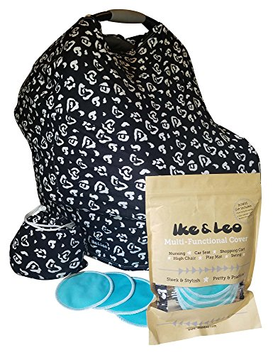Baby Car Seat Cover Canopy/Nursing Scarf with 2 Pairs Organic Bamboo Nursing Pads - Premium 96% Rayon - Best for Breastfeeding, Shopping Cart, High Chair, Carseat, Shower Gift (The Leo (Car Seat Toys Organic)