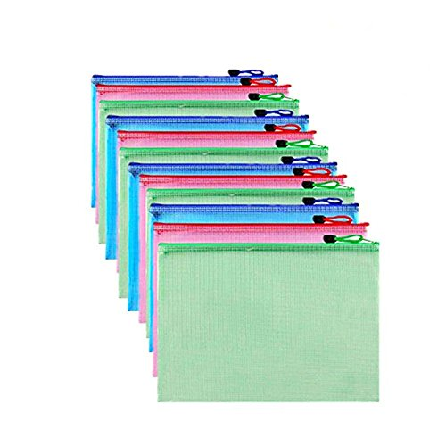 12 Pcs A4 Waterproof Zipper File Bags Mesh Document Bag Storage Pouch for Office Document, Magazine, Toys, Cosmetics,Travel Accessories Organizer