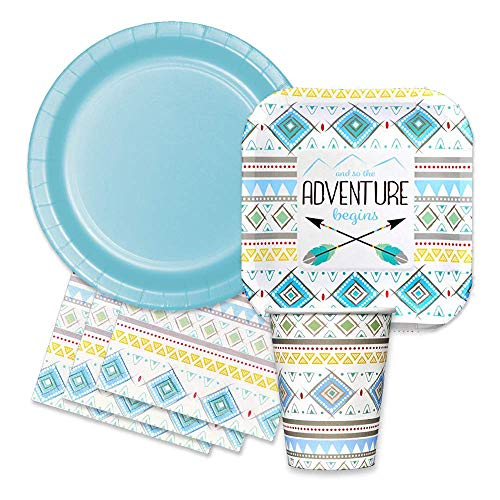 Tribal Feather Baby Boy Shower Party Supplies Kit - The Adventure Begins Themed Paper Plates, Napkins, Cups ()