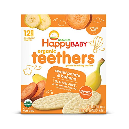 (Happy Baby Gentle Teethers Organic Teething Wafers Banana Sweet Potato, 12 Count Box (Pack of 6) Soothing Rice Cookies for Teething Babies Dissolves Easily, Gluten-Free (Packaging May Vary))
