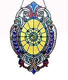 Chloe Lighting Webster Tiffany-Glass Victorian Window Panel 15×23