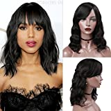 WIGNEE Natural Wave Wigs with Bangs 100% Brazilian Human Hair Fashion Wave Wigs Natural Black (14'')