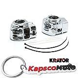 Krator Harley Davidson Electra Glide FLHTCU/I & FLTCU/Road Glide FLTR/I/Road King FLHRCI/Road King FLHR/I Custom Chrome Handlebar Switch Housing Cover Kit (1996-2012) + KapscoMoto Keychain