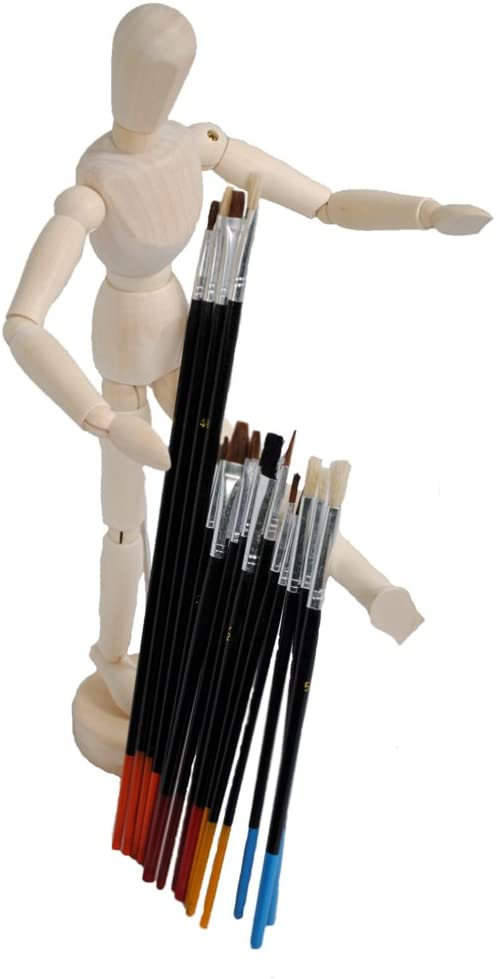 Shop4Omni 12 In Articulated Artist Model Drawing Mannequin w 15pc Paintbrush Set