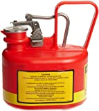 """Product review for Justrite 14065 1/2 Gallon, 4 5/8"""" x 7 5/8"""" x 9.50"""" Size Type I Red Oval Polyethylene Safety Can With Stainless Steel Hard"""