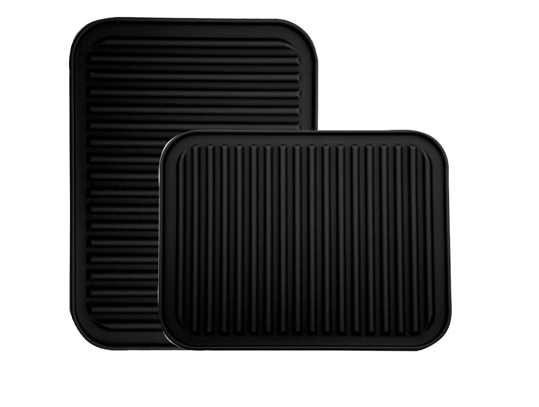 Silicone Pot Holder, Trivet Mat, - Waterproof, Heat Insulation, Non-Slip, Tableware Pad Coasters - 9'' x 12'' - 2 set (Black - 2 set) by Yeesn