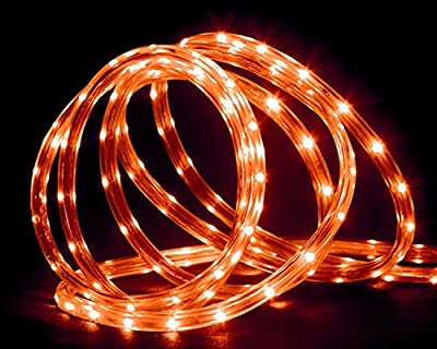 "18' Orange LED Indoor/Outdoor Christmas Rope Lights - 2"" Bulb Spacing"