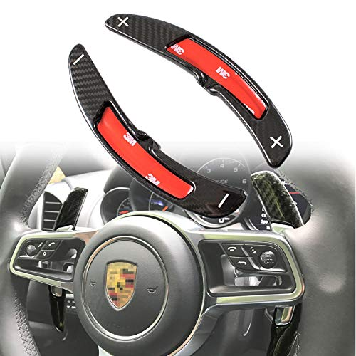 (Carbon Fiber Steering Wheel Paddle Shifter Extensions PDK For Porsche Cayenne Macan Panamera Boxster GT3 911 2016-17)