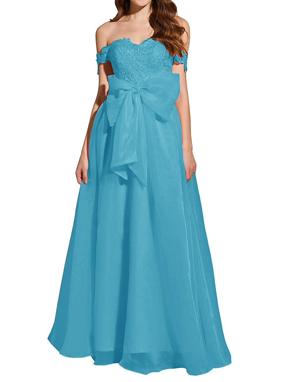 Turquoise Uther Formal Prom Dresses Off The Shoulder Appliques Long Evening Party Gowns Organza