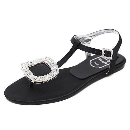 140d218a35e5 Meeshine Women Summer Flat Sandals Shoes Rhinestone Ankle Strap Flip-Flops  (7 B(