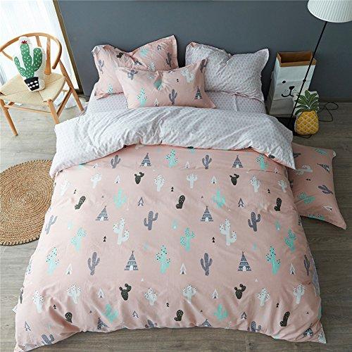 MAXYOYO 100% Cotton Cactus Pattern Bedding Set Full Size,Boy Girl Kid Duvet Covet Set, 4 Pieces,1 Duvet Cover+ 1 Flat Sheet+ 2 Pillow - Garden Jersey Mall The In Stores