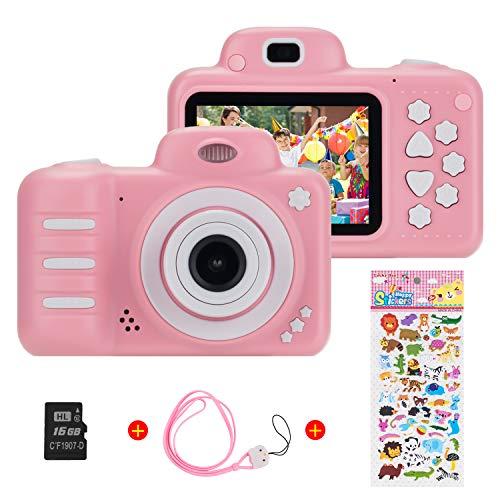 Vannico Camara Fotos, Camara para Ninos Camaras de Video para ninos Camara Digital 8MP 1080P HD Juguetes para nina de 3-10 anos con Tarjeta de 16GB TF (Rosa)