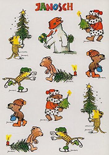 Janosch Sticker Postkarte Buntes Weihnachtstreiben