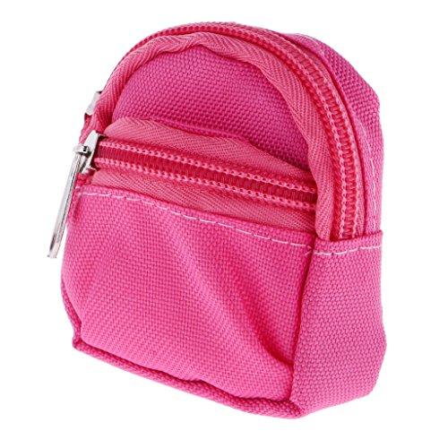 Fenteer Niedlicher Puppentsche Rucksack Schultasche mit Reißverschluss Für 1/6 BJD Puppen - rosa Rosa