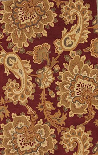 - New Agra All-Over Floral Paisley Hand-Tufted 5x8 Red Wool Oriental Area Rug (7' 10