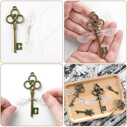 68PCS Skeleton Key Charms, DIY Antique Flying Keys with 10 Yards Hemp Rope