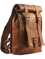 Vintage Backpack 16 Travel Daypack Weekend Gym Rucksack Genuine Leather Brown Bag