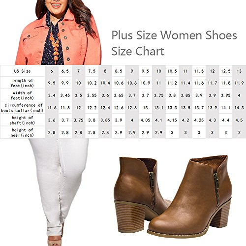 Image of Luoika Plus Size Wide Width Ankle Boots for Women Mid Chunky Block Stacked Heels Round Toe Slip on Side Zip