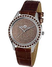 Jacques Lemans Women's Brown Leather Band Steel Case Quartz Watch 1-1841ZG