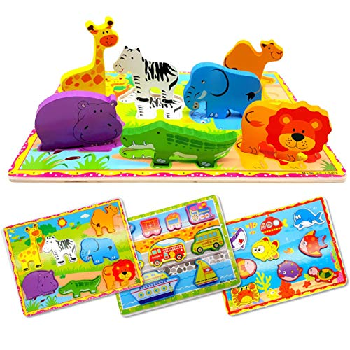 Wooden Chunky Puzzle for Toddlers, Set of 3. Educational Toddler Puzzles and Jigsaws with Zoo Animal Safari, Sea Creatures and Vehicles Theme, by KABOOCHY