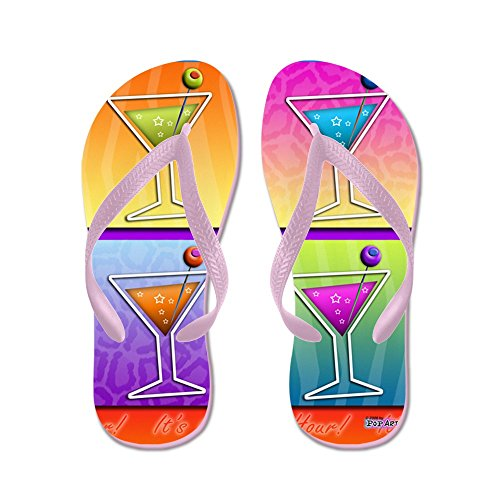 CafePress Martinis Pop Art - Flip Flops, Funny Thong Sandals, Beach Sandals Pink
