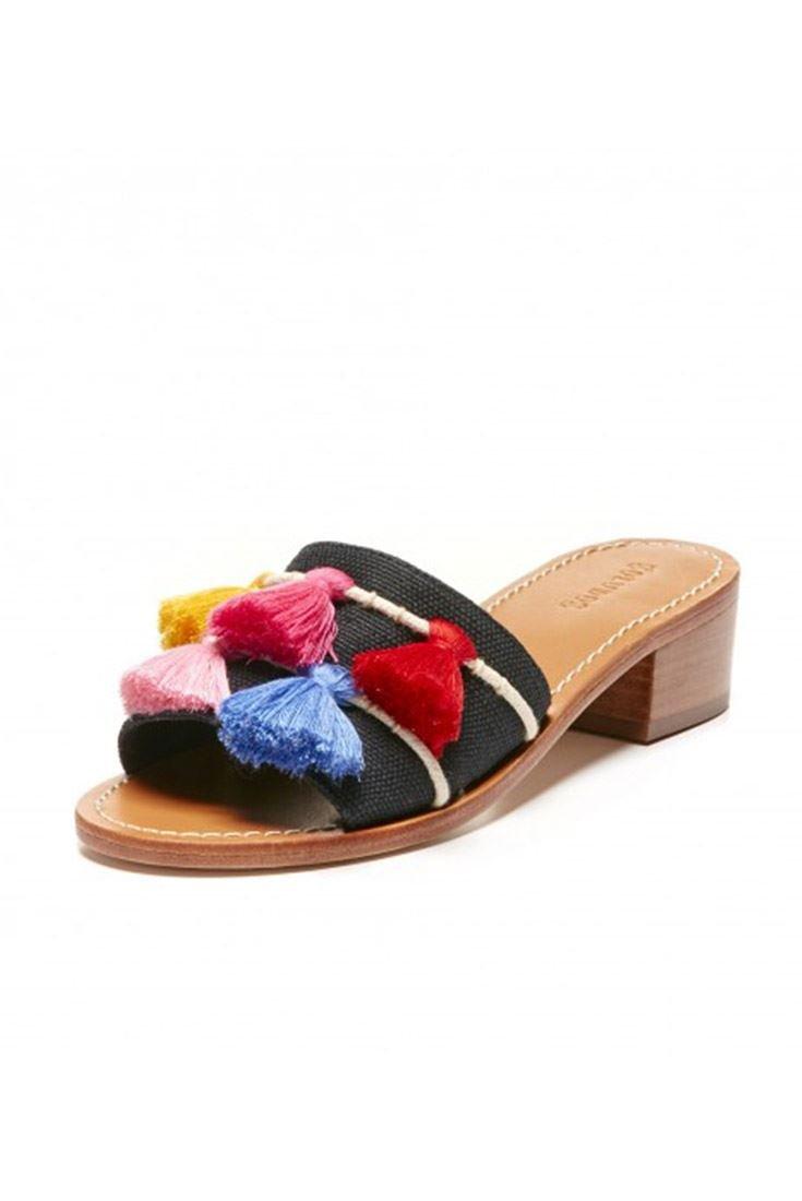 Soludos Women's Open Toe Tassel City Sandal - Black - Multi - 5