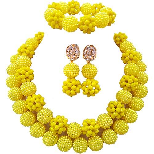 Set Beaded Yellow Jewelry (Nigerian Wedding African Beads Opaque Yellow Bridal Jewelry Sets)